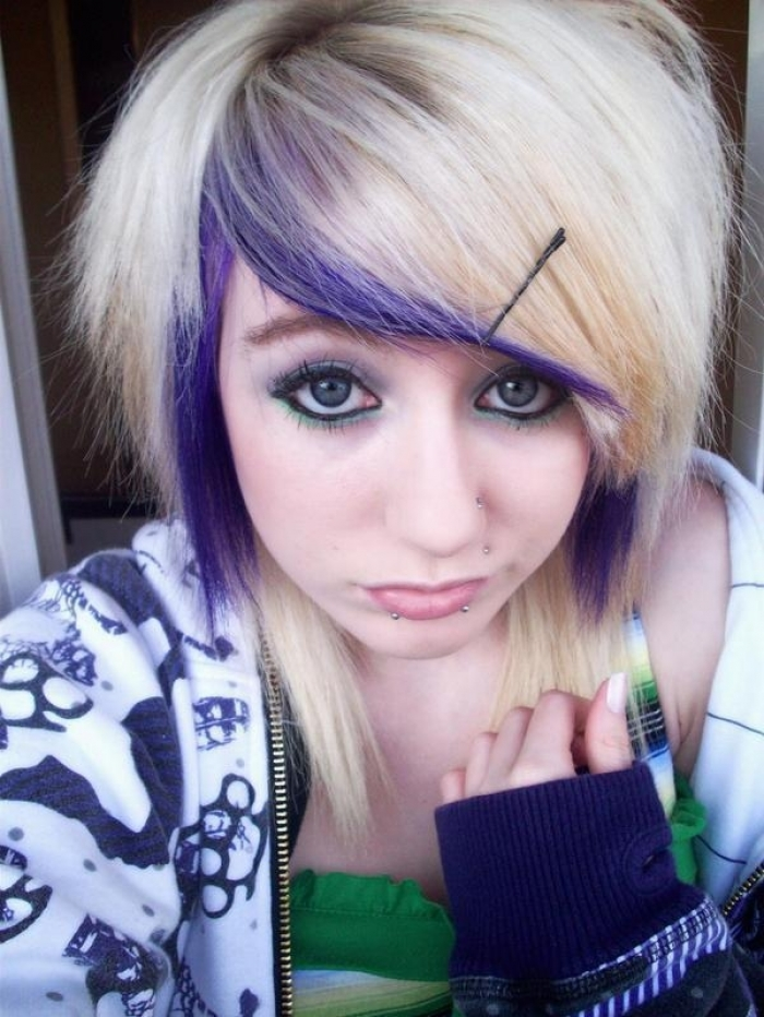 Emo scene hairstyle for teen girls share your