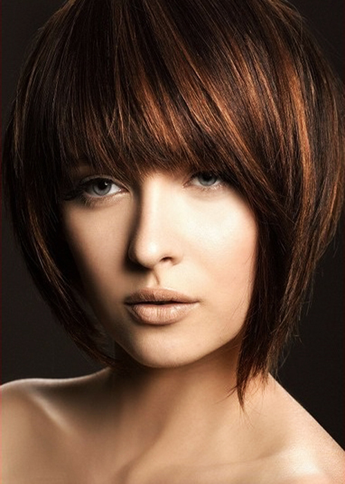 Beautiful Glam Blunt Bangs Long Haircuts 2012