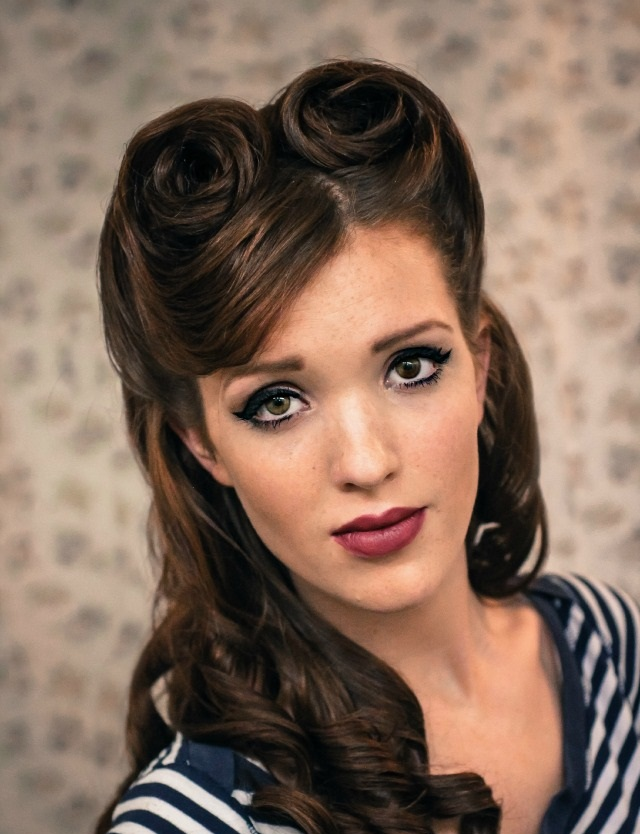 Popular Vintage Pinup Girl, Loose Waves Hairstyle On Medium To Long Hair From The 40s And 50s Inspired By Celebrities Like Christina Aguilera, Gwen Stefani, Dita Von, Katy Perry, Lana Del Rey, Megan Fox, And Taylor Swift, Just To Name A