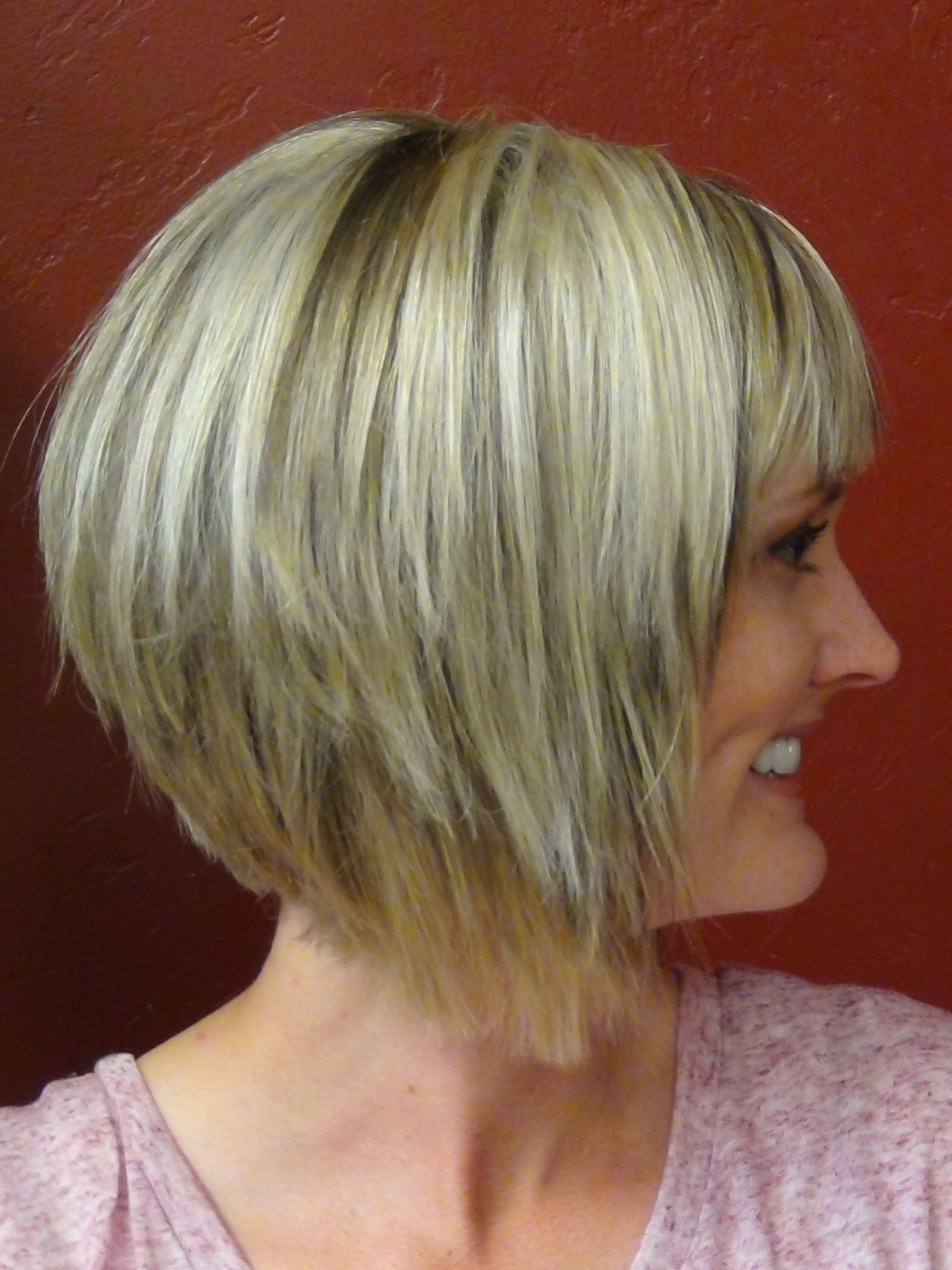 A Line Stacked Bob Haircut with Bangs